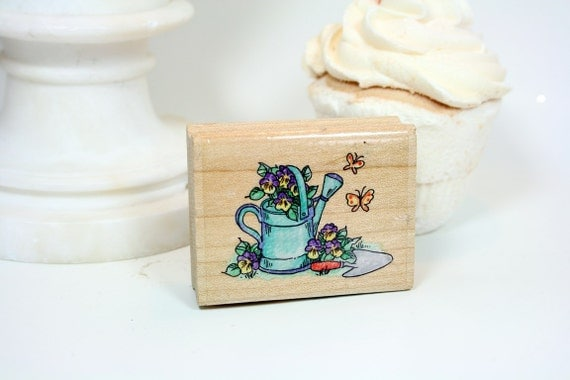 Stampendous Rubber Stamp Floral Water Can Stamp-DESTASH Butterflies Johnny Jump Ups Trowel
