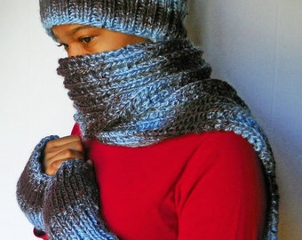 Blueberry Bling Winter Ensemble / Complete Hat,Scarf and Gloves Set / Fall-Winter Fashion OOAK (one-of-a-kind)