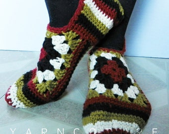 Crocheted Granny Square Slippers - Luxuriously Soft - Gift For Her - Ready To Ship - SIZE M - L