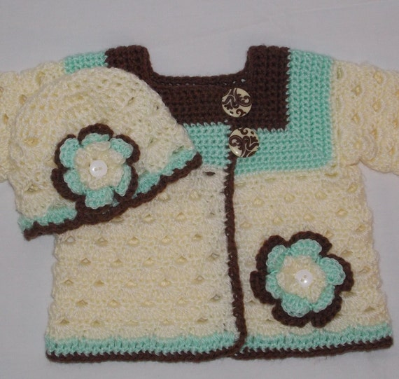 Crochet Baby Sweater Set ... 0 to 3 months ... ready to ship ... mint cream chocolate brown ...Sweet Pea Original ... heirloom