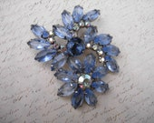 vintage brooch with blue stones and aurora borealis stones