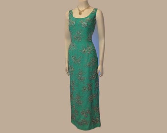 vintage dress / Vintage 50's Bombshell Beaded Sequin Gown 1950s Dress