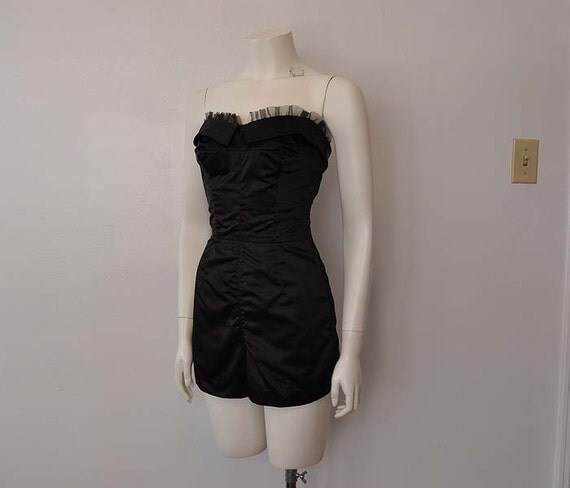 50s playsuit / Burlesque Beauty Vintage 1950's Strapless Tulle Black Satin Playsuit