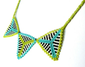 Lime and Turquoise Beaded Necklace Colorful Necklace Black and White Stripe Bead Triangles Unique Beadwork Geometric Jewelry Made To Order