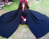 Black Three Quarter Circle Wool Cloak Ready to GO SCA Renaissance Faire Medieval LARP Pagan