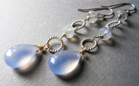 Natural chalcedony and moonstone dangle earrings Six AM Snow
