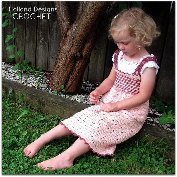 Download Now - CROCHET PATTERN Brocade Princess Dress - Sizes Newborn to 12 Years - Pattern PDF