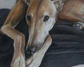 Tan Greyhound Dog Art Postcard