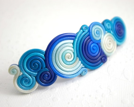 Blue French Barrette in Polymer Clay Filigree