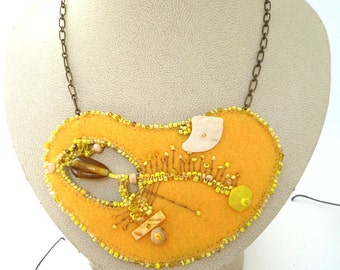Fiber art necklace, FRAGMENTS IN YELLOW, marked down 50%, bead embroidery, hand stitched, ooak, statement, Coachella, bohemian