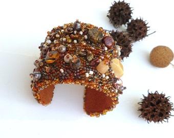 Wearable art bead embroidery brown cuff, PEBBLES, statement, bohemian, Coachella, fantasy, abstract art cuff, ooak