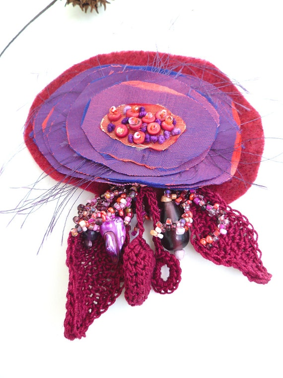 SALE Purple flower II, fiber art brooch in purple tones