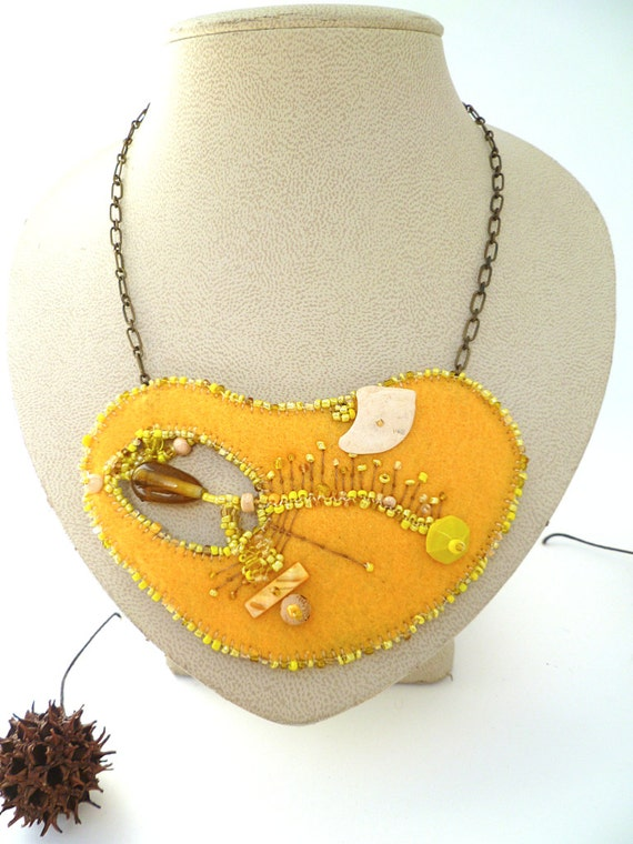 Marked down 50%, Fragments in yellow, unique fiber art necklace, bead embroidery, hand stitched, ooak, statement, Coachella, bohemian