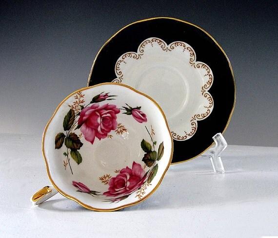 Vintage Teacup and Saucer Tea Cup Fine Bone England EBONY Pink Roses 1960s