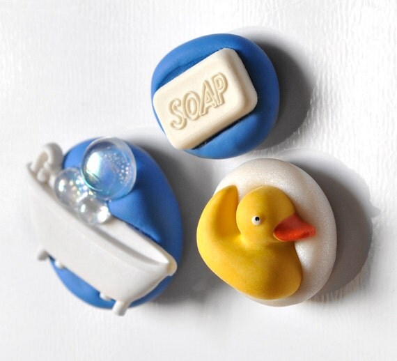 Bath Time Fun Magnets Rubber Ducky, Soap Bubbles and Bath tub in Blue and White Polymer Clay Set of 3