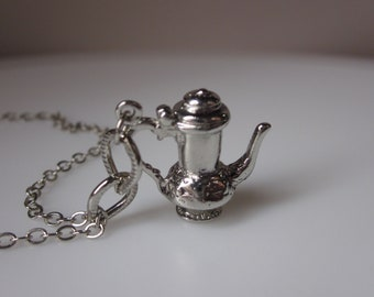 Little Teapot Coffeepot Necklace in Silver Finish
