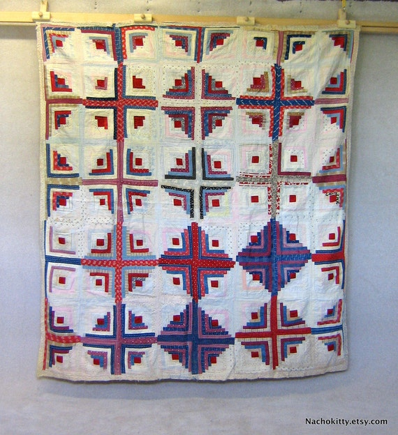Antique Quilt Circa 1930s, Reds Blues & Patterns, Charming Display Piece