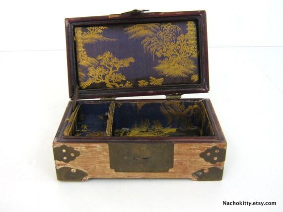 Asian Jewelry Box Brass Overlay with Purple & Gold Silk Interior