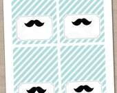 Little Man Mustache Buffet Card Printable Labels - INSTANT DOWNLOAD