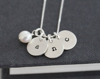 Personalized Necklace, Mothers Necklace, Hand Stamped jewelry .. 3 Initials Necklace, Personalized mothers Necklace