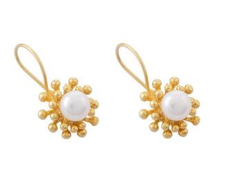 Pearls on Nail Flowers Earrings