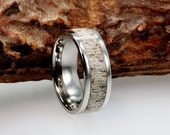 Titanium Wedding Band, Deer Antler Ring With Ring Armor, Jewelry Gifts For Hunters