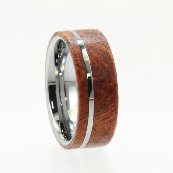 Mens Tungsten Wedding Rings / Tungsten Ring Wedding Band / Wood Ring / Exotic Hard Wood-Mens Wedding Band