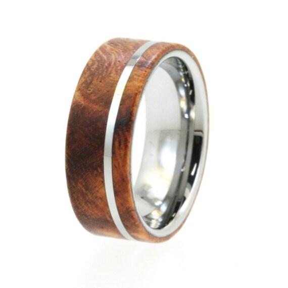 mens tungsten wedding band wood ring flat profile custom wedding - Mens Wood Wedding Rings