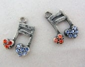 Small Pair of Antique Silver-tone Red and Blue Rhinestone Musical Note Charms