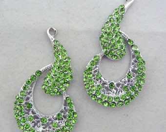 Pair of Silver-tone Curly Peridot Green Rhinestone Drop Charms