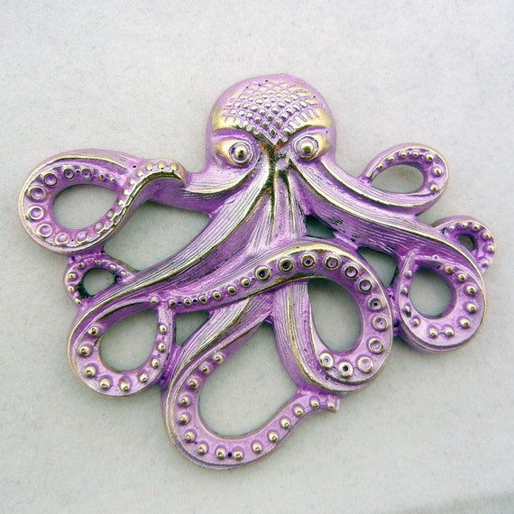 Burnished Gold-tone Purple Washed Octopus Charm