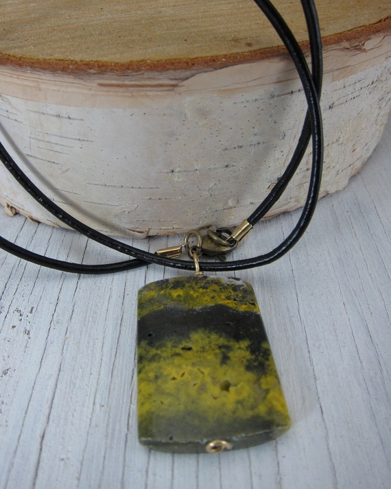 Natural Agate Stone Pendant - Leather Cord - Wearable Art