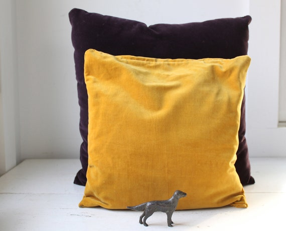 Sale / vintage throw pillows. Amethyst, mustard velvet. Modern retro home decor / the ROOTBEER FLOAT pillows