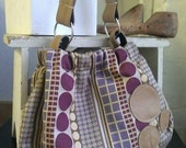 Betsy Bag in purple and taupe dots with nutmeg leather