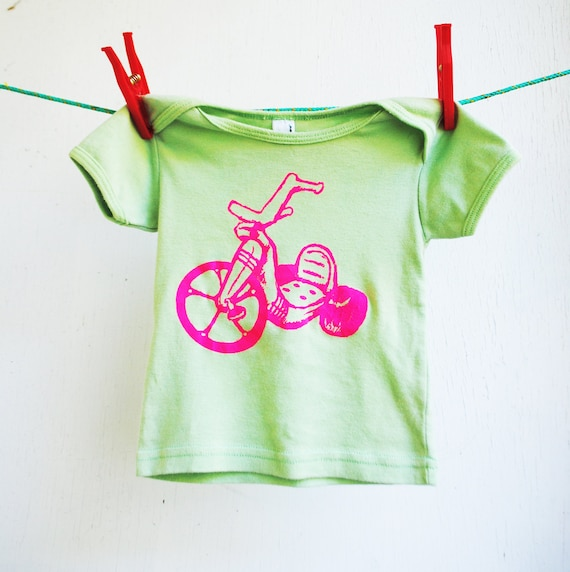 Big Wheel Shirt.   Infant.  Baby.  6 months.   Green and Neon Pink.  Sale.