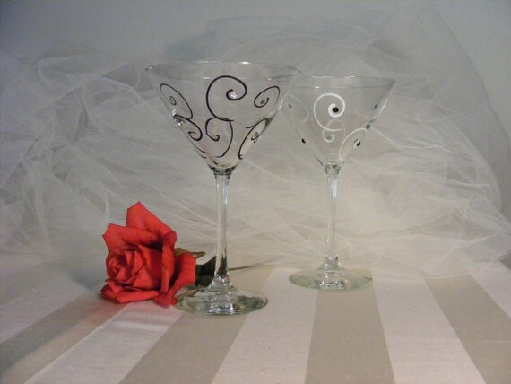 bride and groom black and white martini glasses - can be personalized