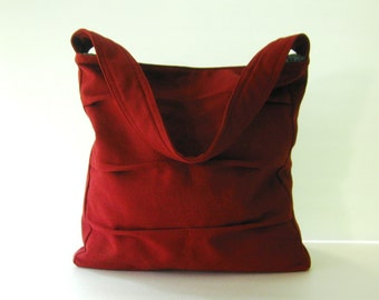 Sale - Deep Red Twisted Hemp/Cotton Bag, shoulder bag, handbag, tote, diaper bag, unique, stylish, purse - Lisa
