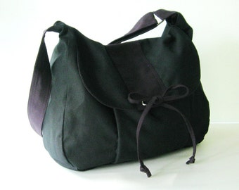 Sale - Black Canvas Messenger bag, School Bag, Diaper Bag, Tote, Laptop, Purse, Women - DIANA