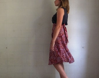 Crepe de Chine - lilac Trees - Wrap Skirt  -  made by kathrin kneidl for resplendent rags