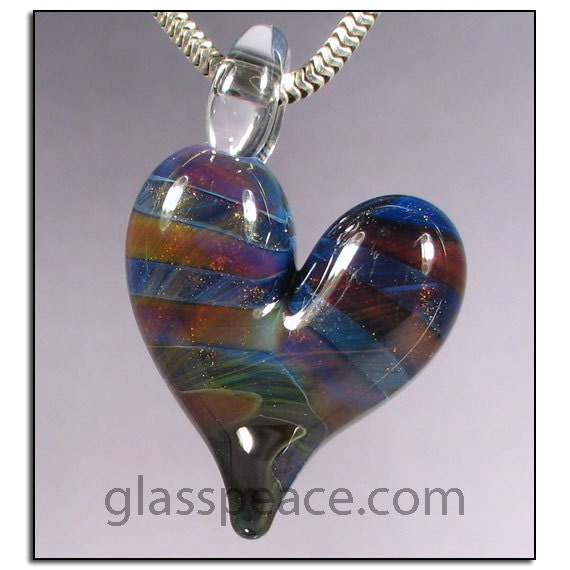 SALE - Sparkling Blue and Purple Striped Heart Pendant - Lampwork Glass Necklace Focal - Hand Blown Glass Jewelry (4411)