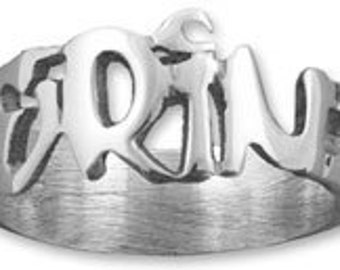 Sterling Silver grafitti style Name Ring