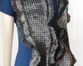 Handmade chuncky scarf, long neckwarmer shawl, crochet gray wrap, women scarf gift - Zoia