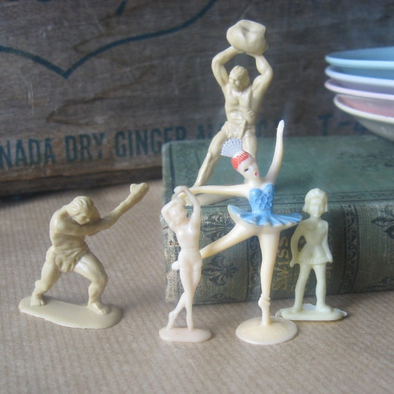 group celluloid and plastic figurines antique and vintage 20-60s lot