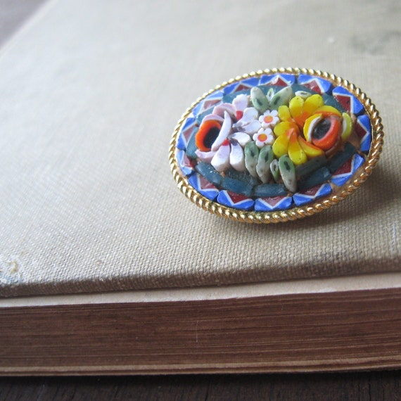 blue yellow and red micromosaic floral pin brooch from italy