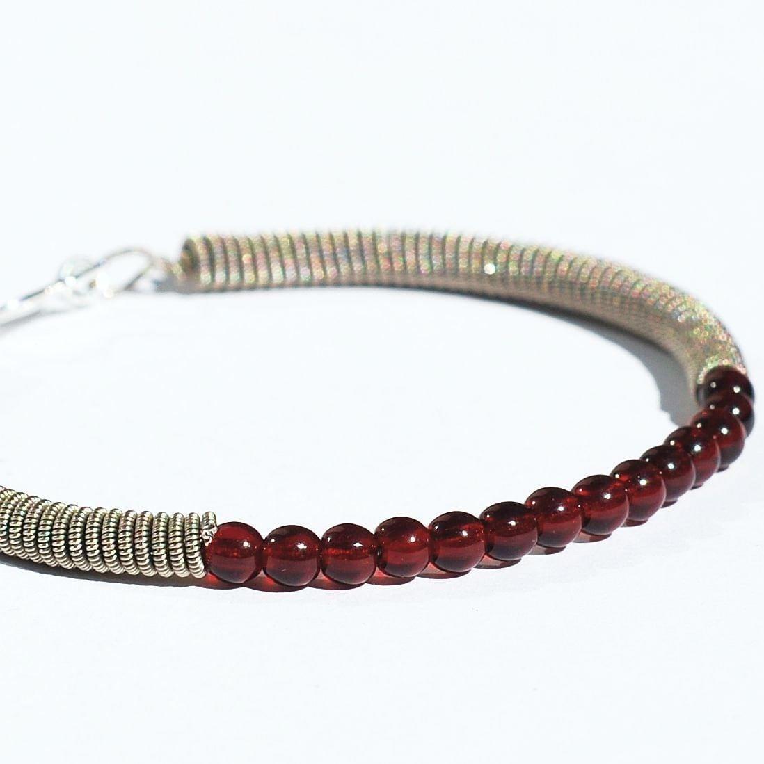 guitar string bracelet upcycled silver and garnet red bead. Black Bedroom Furniture Sets. Home Design Ideas