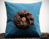 "16"" DESIGNER PILLOW COVER - Teal Linen Brown Felt Flower with Turquoise and Rust Buttons Gift for Her by JillianReneDecor"
