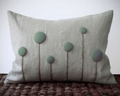 Mint Billy Ball Flower Pillow in Natural Linen Home Decor by JillianReneDecor Craspedia Billy Button Botanical Aqua Grayed Jade - JillianReneDecor