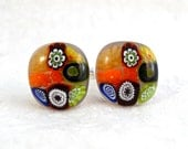 Cuff Links Cufflinks Millefiori Accessories Handmade Minnesota Fused Glass Artisan Handcrafted Accessory Autumn Subtlety
