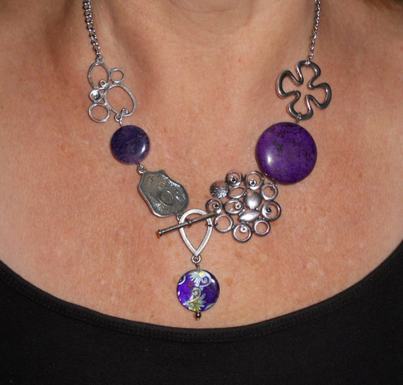 Chunky Purple necklace, front toggle statement necklace, silver bubble and purple gem unique necklace, funky jewelry