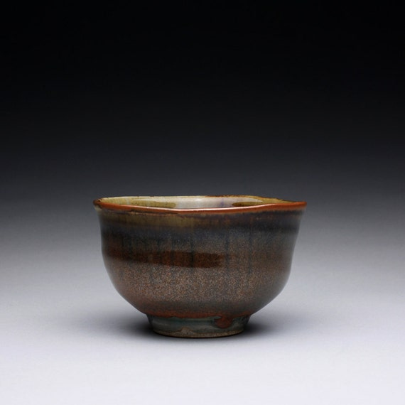 ceramic tea bowl - matcha chawan with iron red and green celadon glazes